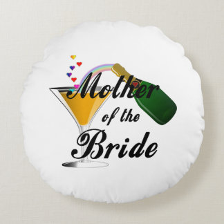 Mother Of The Bride Champagne Toast Round Pillow