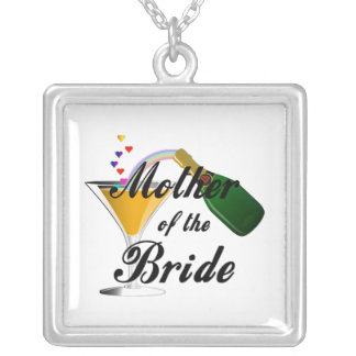 Mother Of The Bride Champagne Toast Silver Plated Necklace