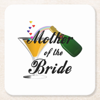 Mother Of The Bride Champagne Toast Square Paper Coaster