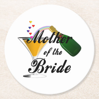 Mother Of The Bride Champagne Toast Round Paper Coaster