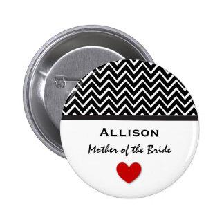 Mother of the Bride Chevron Print Heart A01 Pinback Button