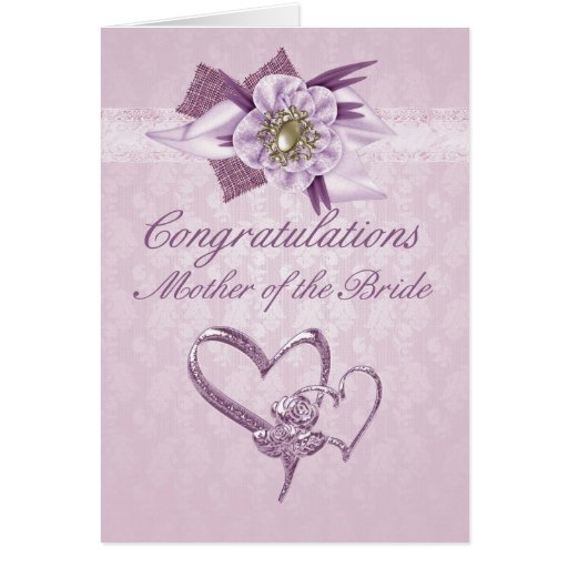 Mother of the bride Congratulations card in Pink