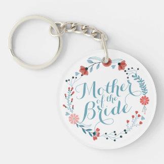 Mother of the Bride Cute Wreath Wedding Keychain
