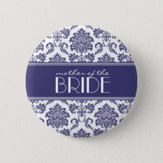 Mother Of The Bride Damask Button in Blue