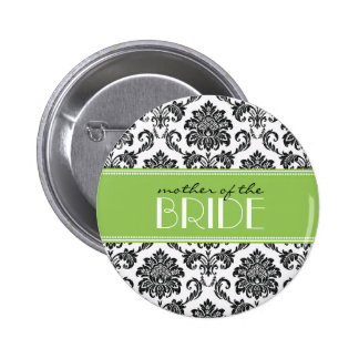 Mother Of The Bride Damask Button in Green