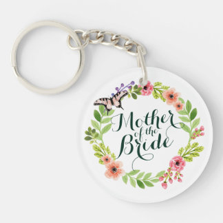 Mother of the Bride Elegant Floral Weddng Keychain