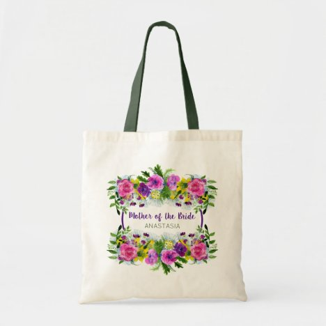 Mother of the Bride Garden Floral Wedding Monogram Tote Bag