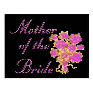 Mother Of The Bride Gold & Bouquet Postcard