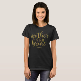 Mother of the Bride Gold Glitter Chic Calligraphy T-Shirt