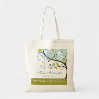 Mother of the bride green & blue love birds favor tote bag