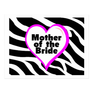 Mother of the Bride (Heart Zebra Print) Postcard