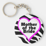 Mother of the Bride (Heart Zebra Stripes) Key Chains