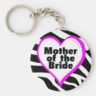 Mother of the Bride (Heart Zebra Stripes) Keychain