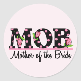 Mother of the Bride MOD Tulip Lettering Round Stickers