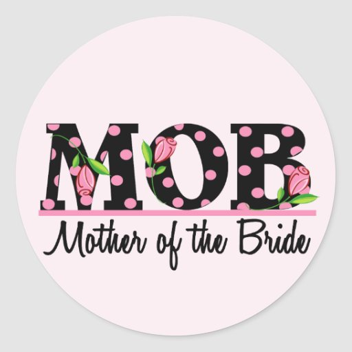 Mother of the Bride (MOD) Tulip Lettering Classic Round Sticker