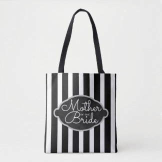 Mother of the Bride Modern Black Silver Wedding Tote Bag