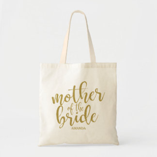 Mother of the Bride Modern Calligraphy Glitter Tote Bag