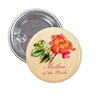 Mother of the bride orange tea rose wedding button