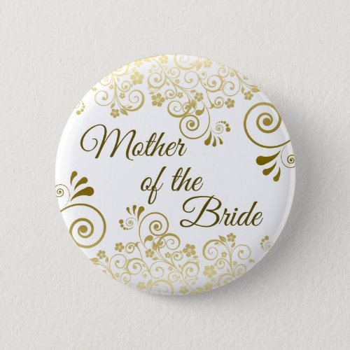 Mother of the Bride Ornate Gold Filigree Wedding Button