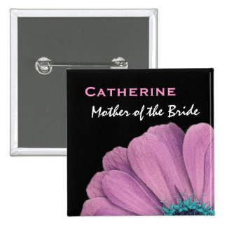 Mother of the Bride Pink Daisy Wedding Button