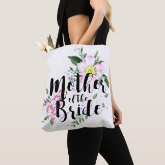 Mother of the Bride Pink Floral Watercolor Wedding Tote Bag