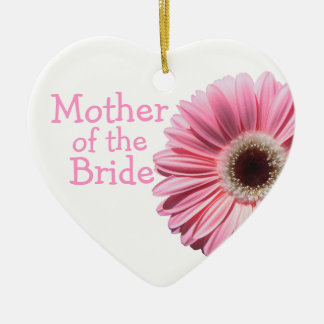 Mother of the Bride Pink Gerbera Daisy Double-Sided Heart Ceramic Christmas Ornament