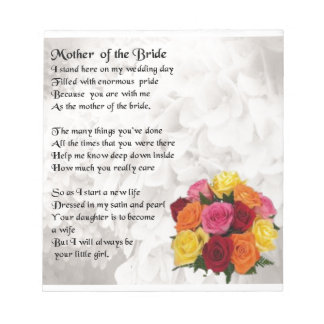 Mother of the Bride Poem  - Flowers Notepad
