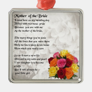 Mother of the Bride Poem  - Flowers Silver-Colored Square Decoration