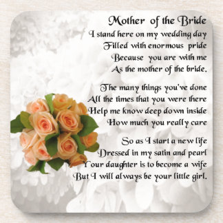 Mother of the Bride Poem  -  Peach Roses Beverage Coaster