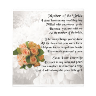 Mother of the Bride Poem  -  Peach Roses Notepad