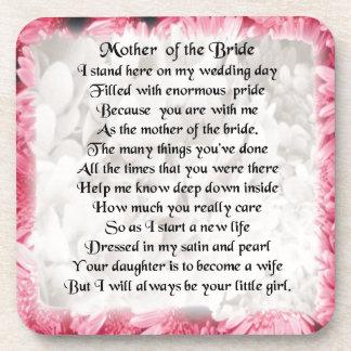 Mother of the Bride Poem - Pink Floral Design Beverage Coaster