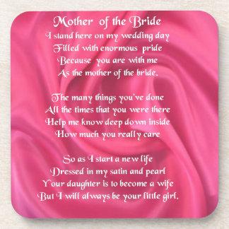 Mother of the Bride Poem - Pink Silk Drink Coaster