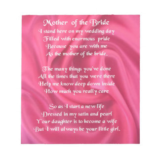 Mother of the Bride Poem - Pink Silk Notepad