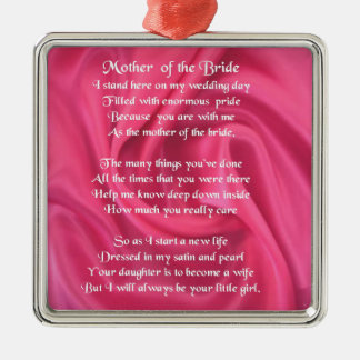Mother of the Bride Poem - Pink Silk Silver-Colored Square Decoration