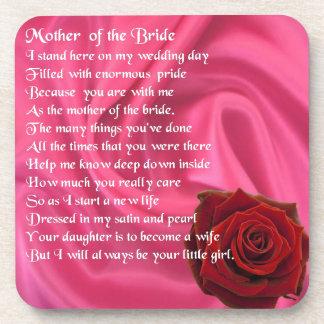 Mother of the Bride poem -  Pink Silk & Rose Beverage Coaster
