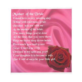 Mother of the Bride poem -  Pink Silk & Rose Notepad