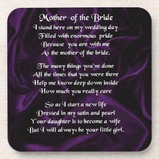 Mother of the Bride Poem - Purple Silk Beverage Coaster