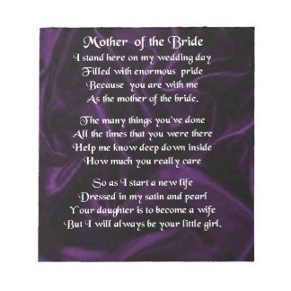 Mother of the Bride Poem - Purple Silk Notepad