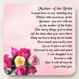 Mother of the Bride Poem -  Roses Beverage Coaster