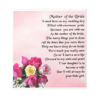 Mother of the Bride Poem -  Roses Notepad