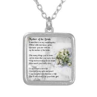 Mother of the Bride Poem   Wedding Bouquet Design Silver Plated Necklace