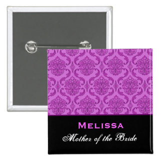 Mother of the Bride Purple  Damask Custom Name Pinback Button