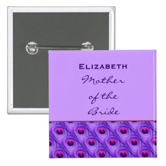Mother of the Bride Purple Peacock Custom Name Button