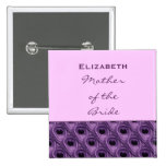 Mother of the Bride Purple Peacock Custom Name Pin