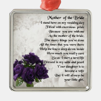 Mother of the Bride  -  Purple Roses Silver-Colored Square Decoration