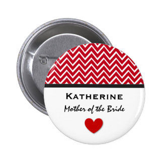 Mother of the Bride Red Chevron Print Heart A03 Button