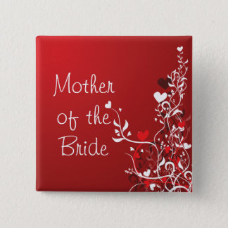 Mother of the Bride ---- Red Scroll Pinback Button