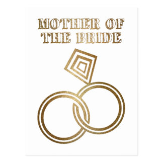 Mother Of The Bride Romantic Gold Rings Wedding Postcard