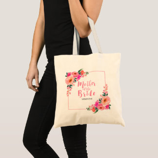 Mother of the Bride Rustic Pink Floral Watercolor Tote Bag