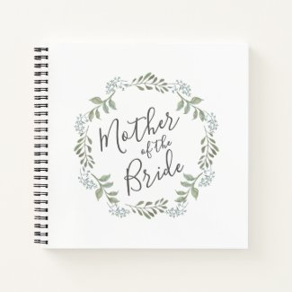 Mother of the Bride Sage Wreath Wedding Guestbook Notebook